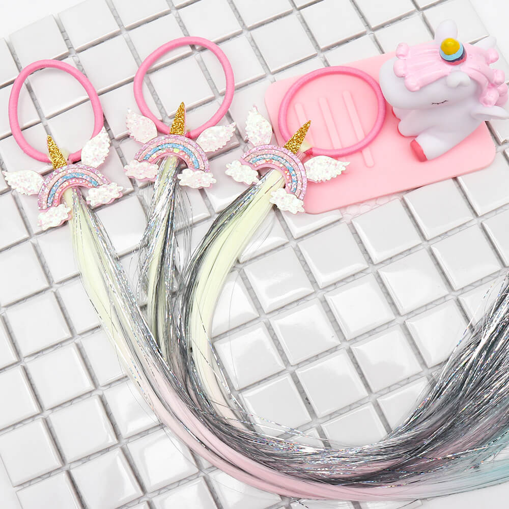 Rainbow Unicorn Fake Braid Hair Tie