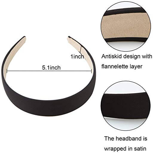 8 Pieces Satin Anti-slip Wide Headbands