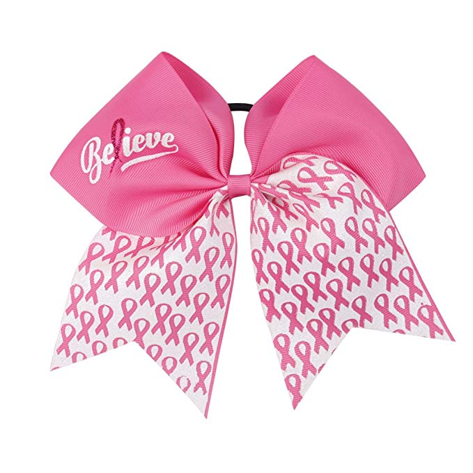 Large Breast Cancer Awareness Cheer Bows