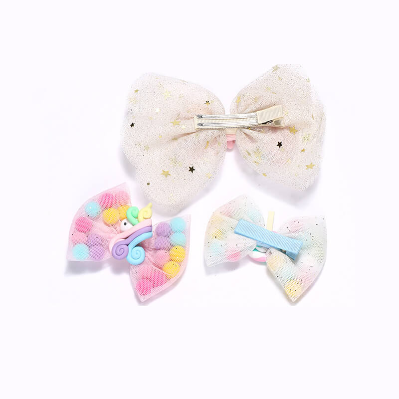 Candy Color Pompom Hair Bows For Girls