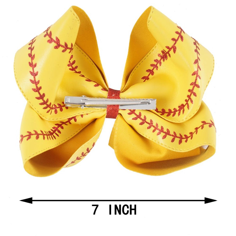 Jumbo Baseball Hair Bows | Softball Bows | Big Leather Bows