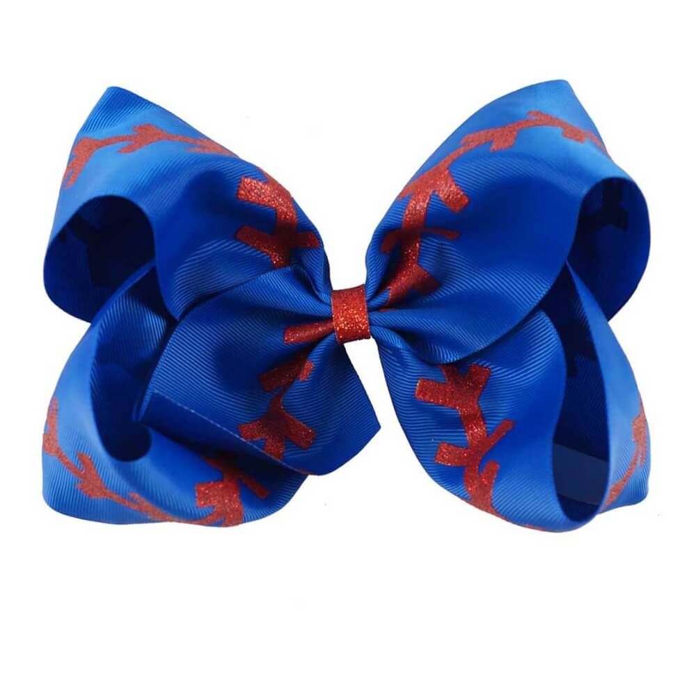 Large Softball Ribbon Hair Bows | Boutique Baseball for Girls