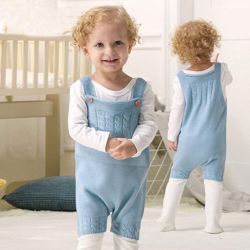 Solid Color Newborn Baby Knitted Romper