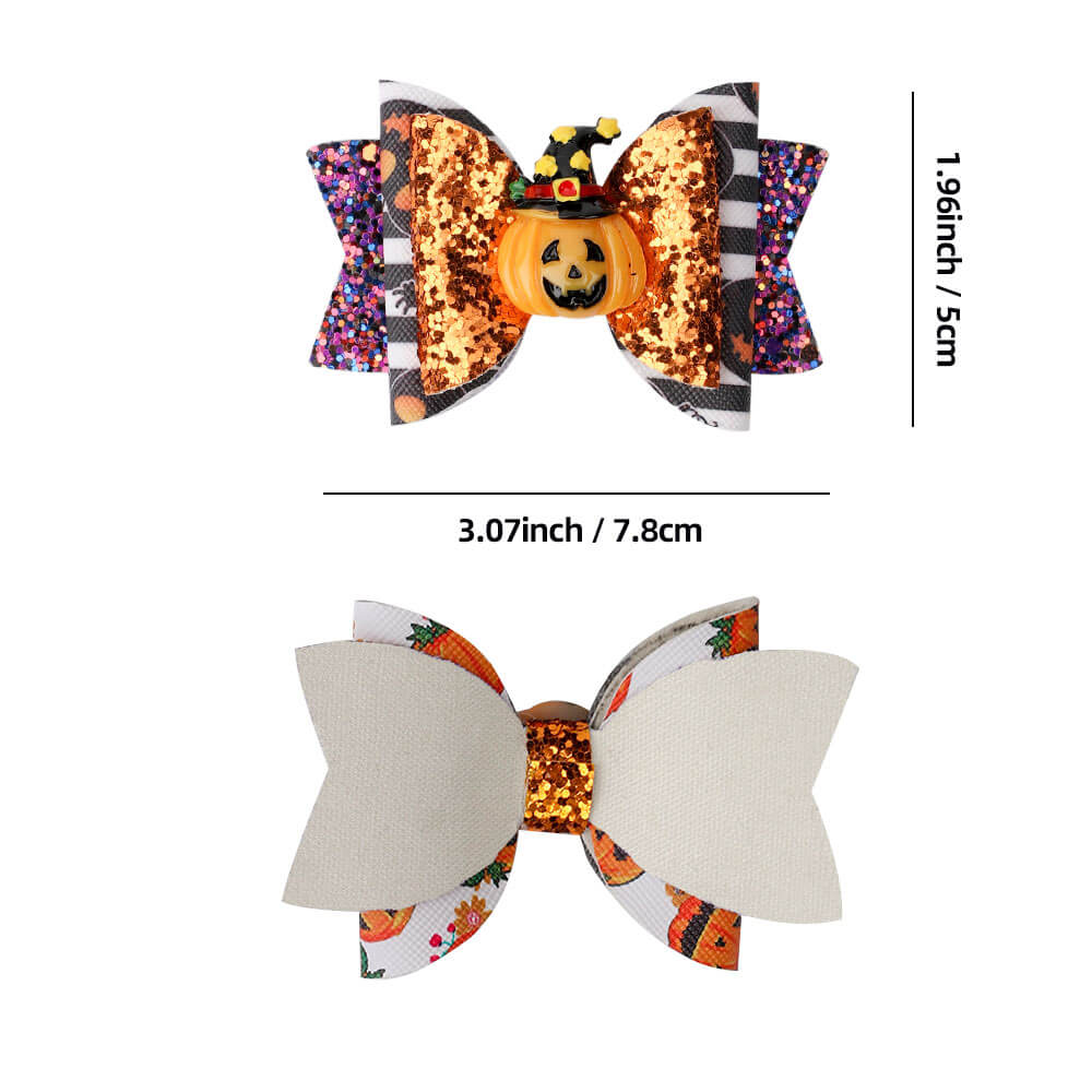 Halloween Glitter Pumpkin Hair Clips