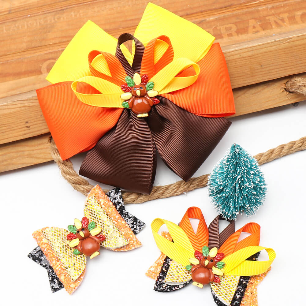Thanksgiving Turkey Hair Bow Clips