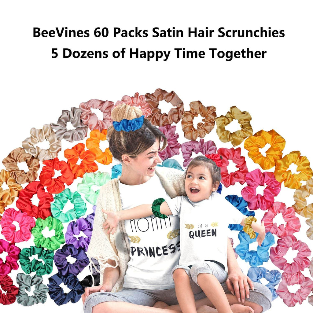 60 Pack Satin Scrunchies Silky Hair Accessories