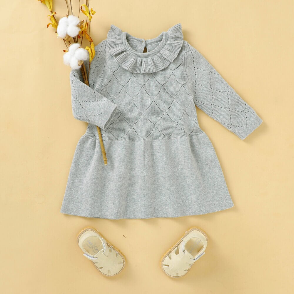 Baby Lotus Leaf Collar Knitted Dress