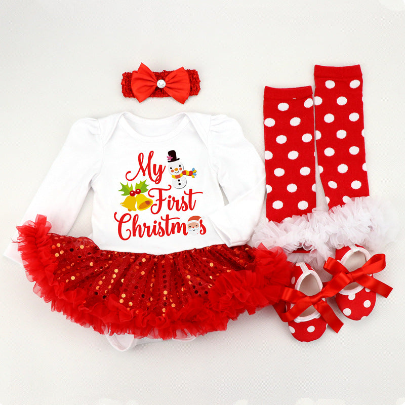 Christmas Letters Baby Romper Skirt Set