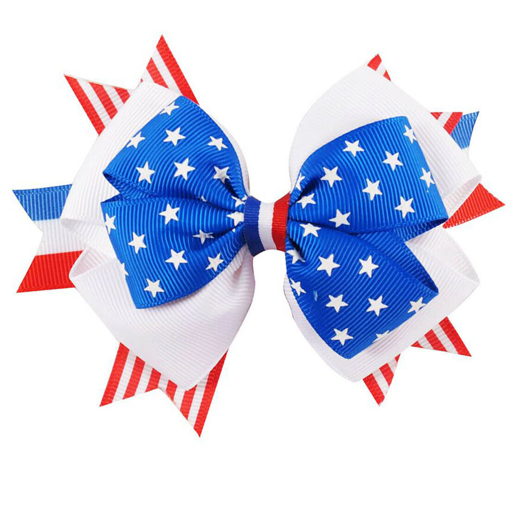 Girls 4th of July Grosgrain Hair Bow Clips