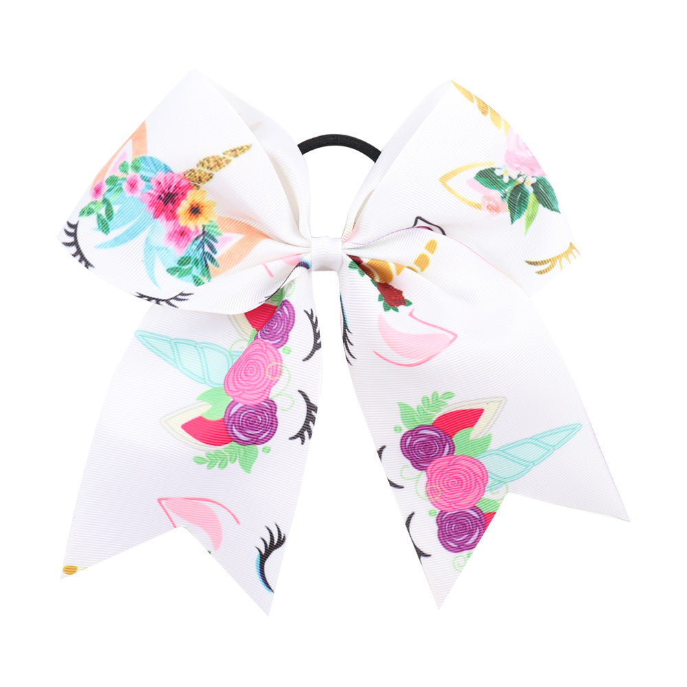 Unicorn Cartoon Cheer Bows