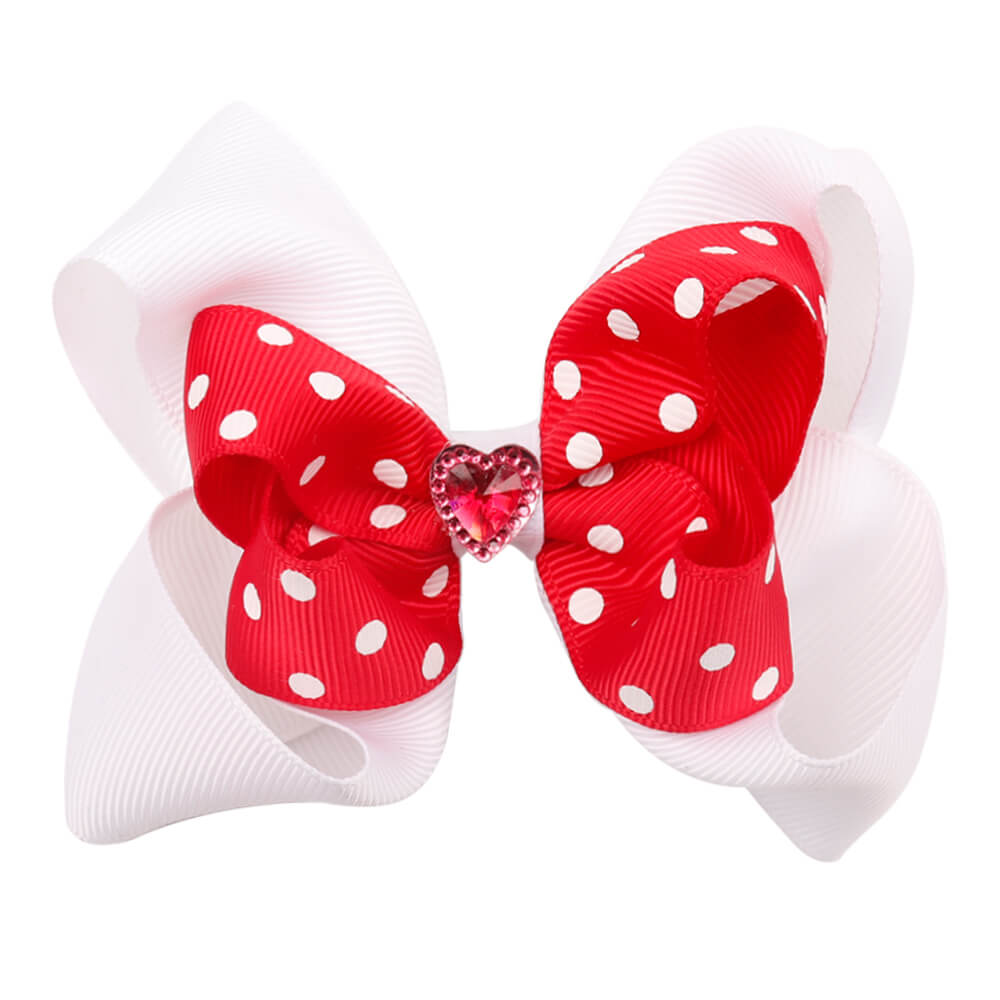Girls Valentine's Day Hair Bows Boutique | Pink and White Hair Bows