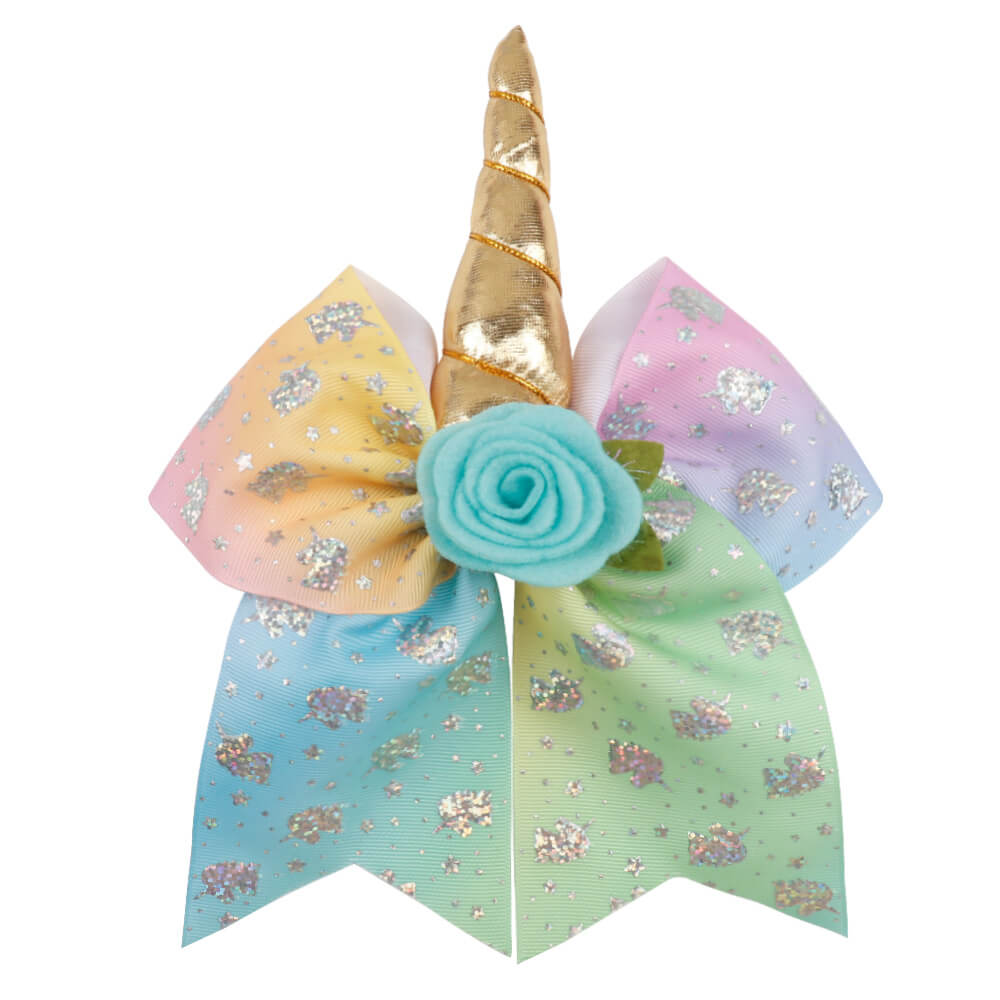 Girls Unicorn Cheer Bows | Big Cheer Bows