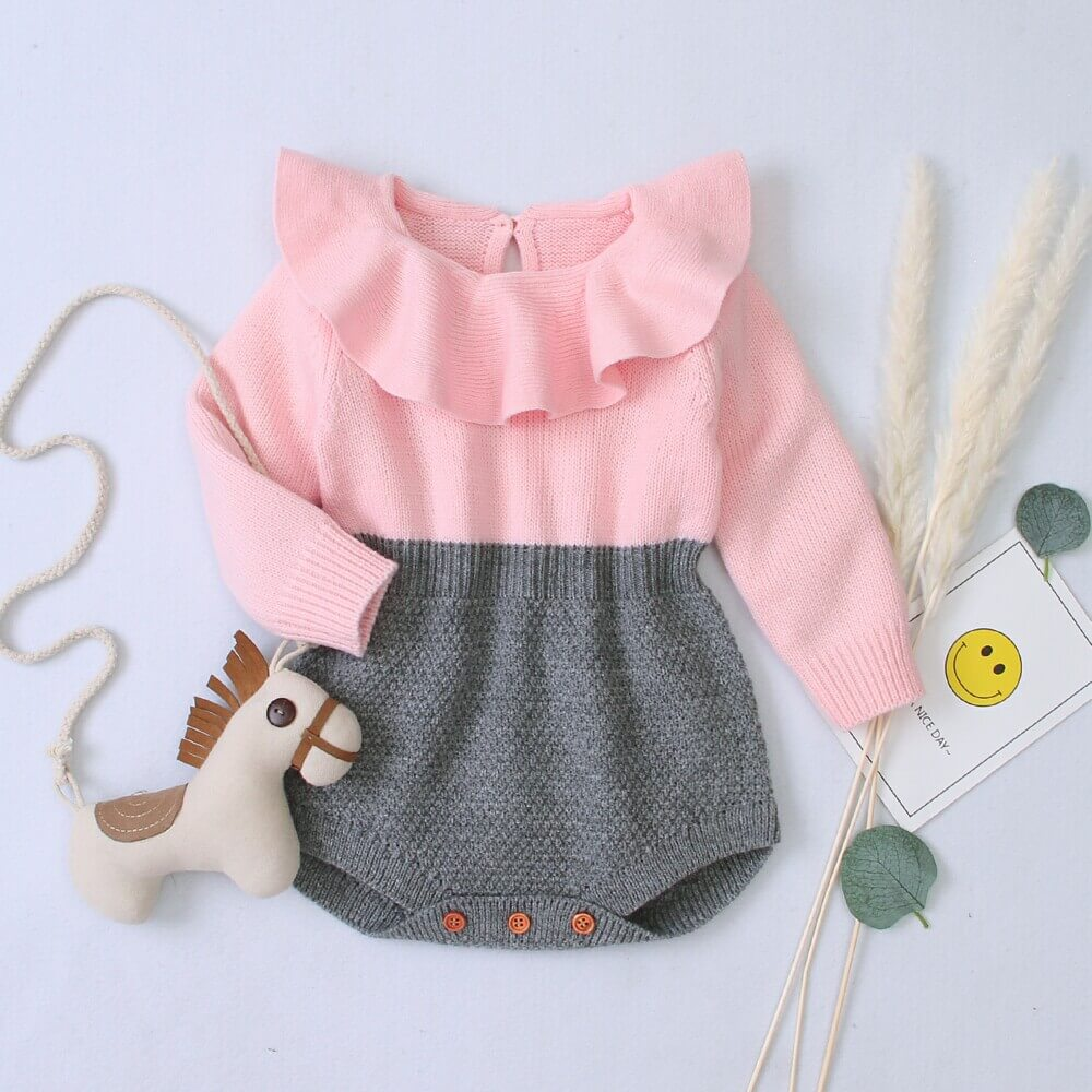 two-color baby romper
