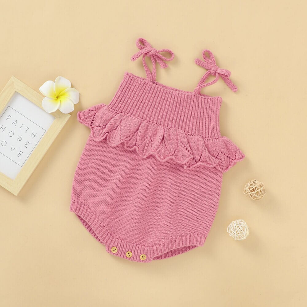 Solid Color Sling Baby Knitted Romper