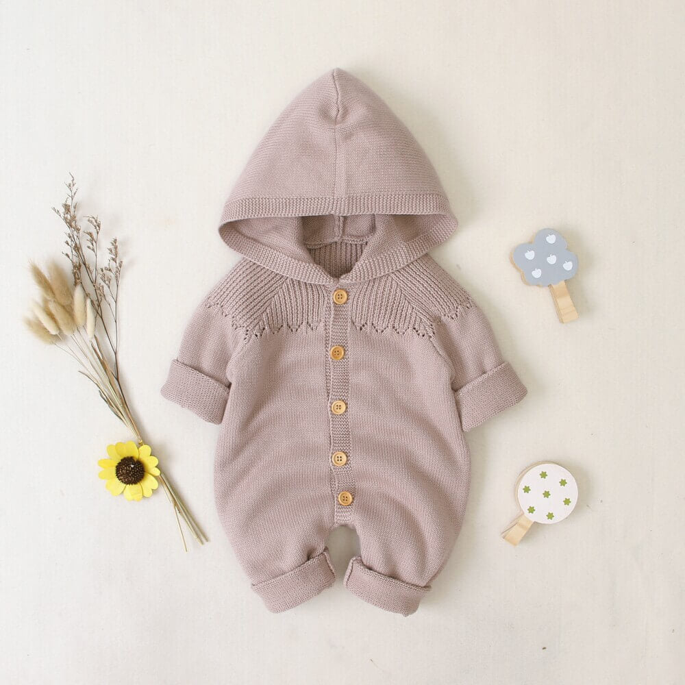 Light Color Hooded Knitted Baby Romper
