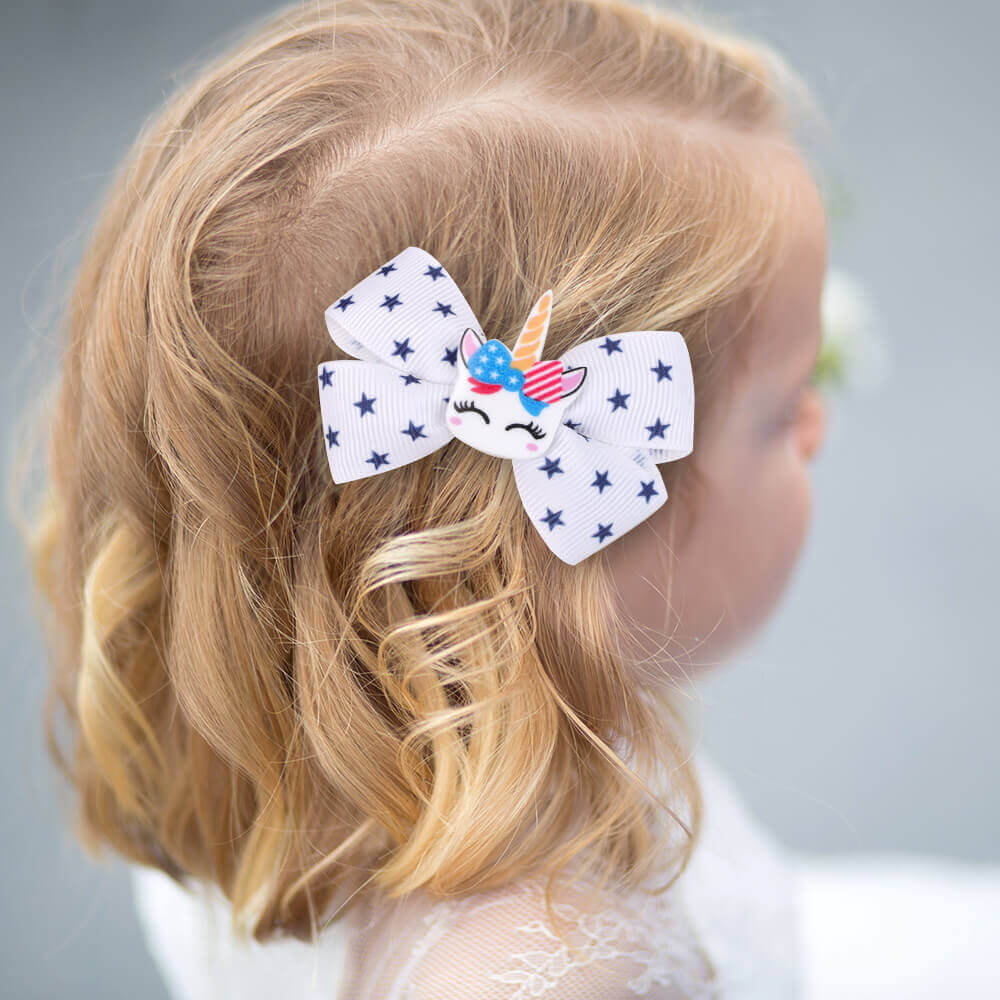 4th of July Unicorn Hair Bows