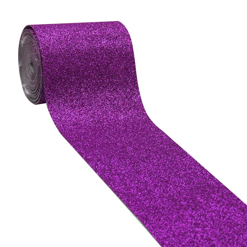 "2 yards/lot 3"" Glitter Leather Ribbon"