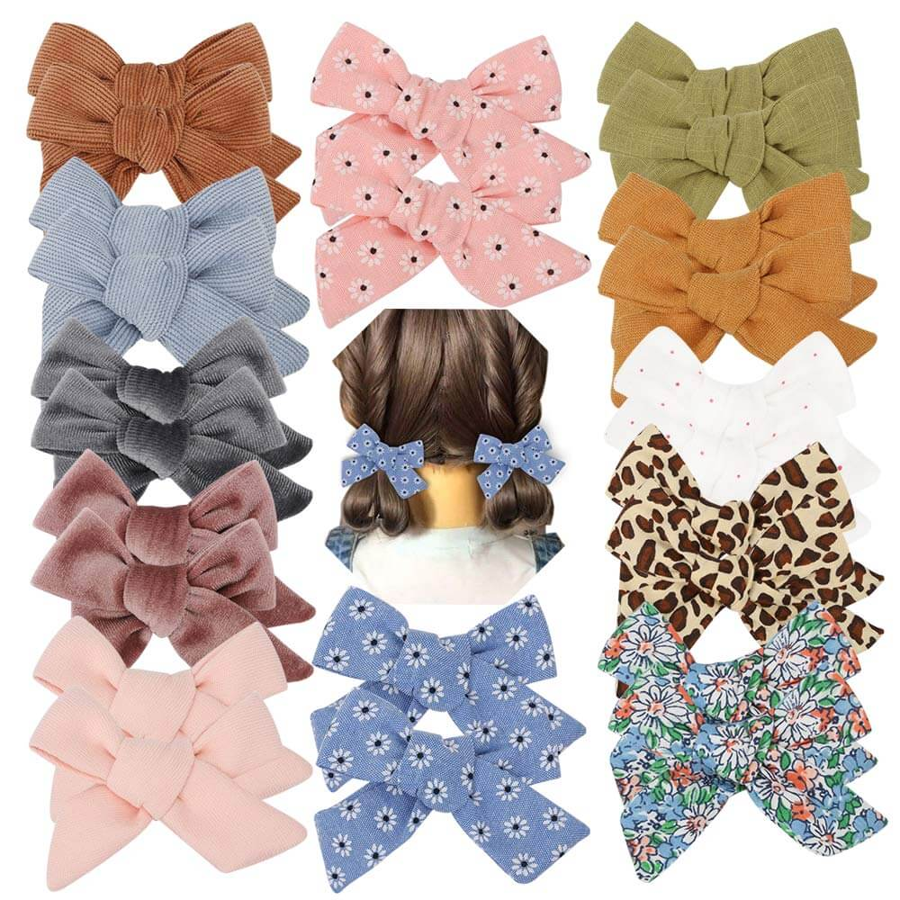 mini bow hair clips