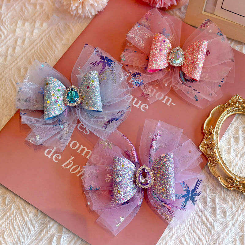 Rhinestone Tulle Hair Bows for Girls