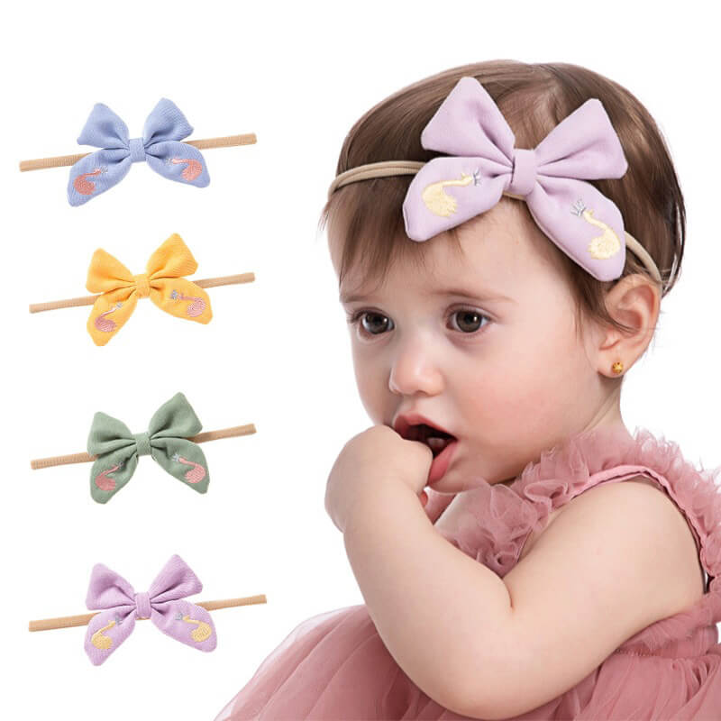 Cute Swan Baby Nylon Headbands