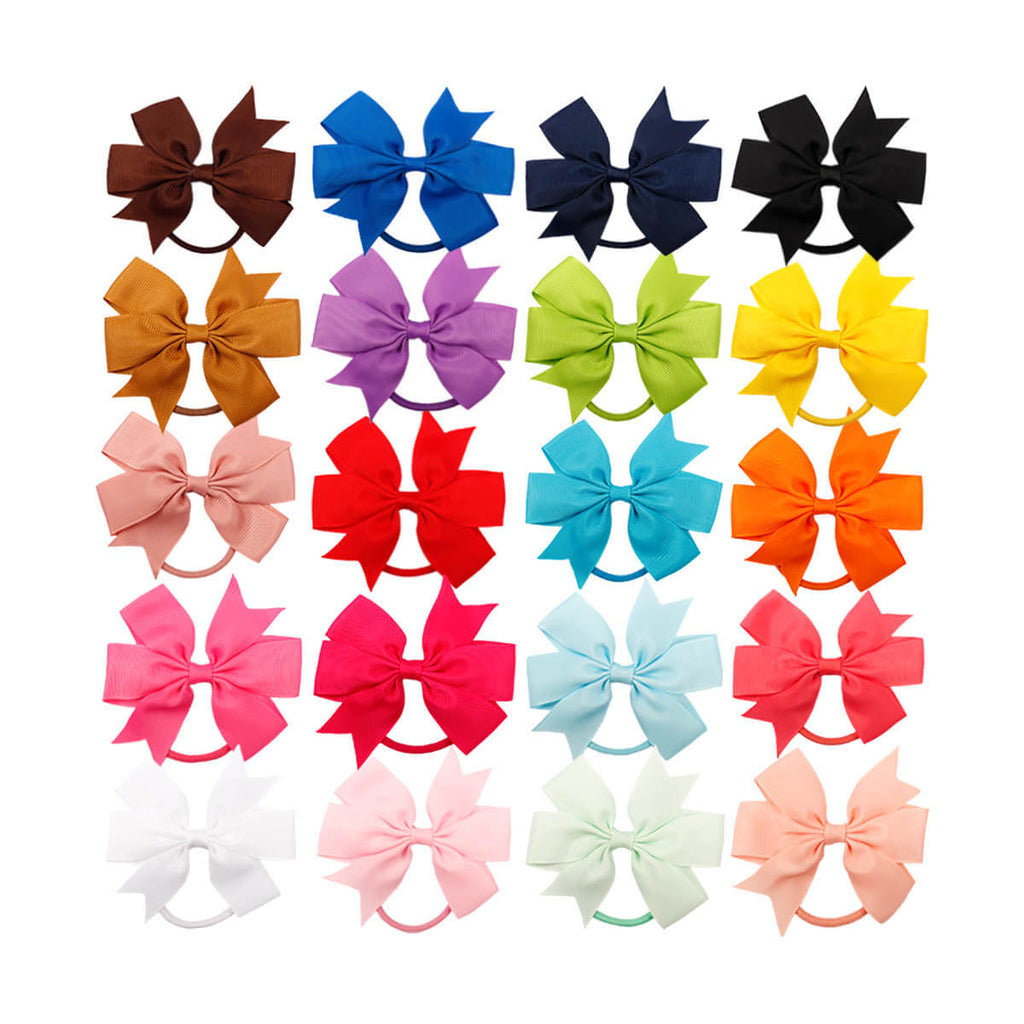 "20 pcs 4"" Grosgrain Ribbon Hair Bows with Hair Tie"