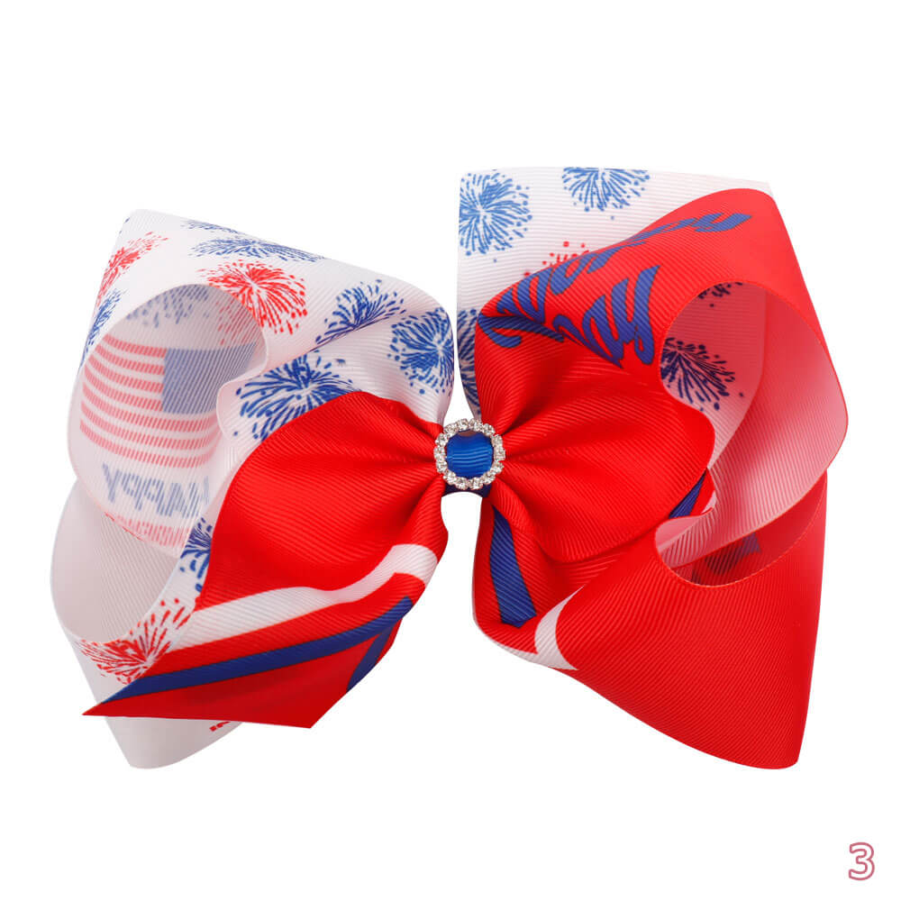 Big American Flag Hair Bows | Independence Day Hair Clips