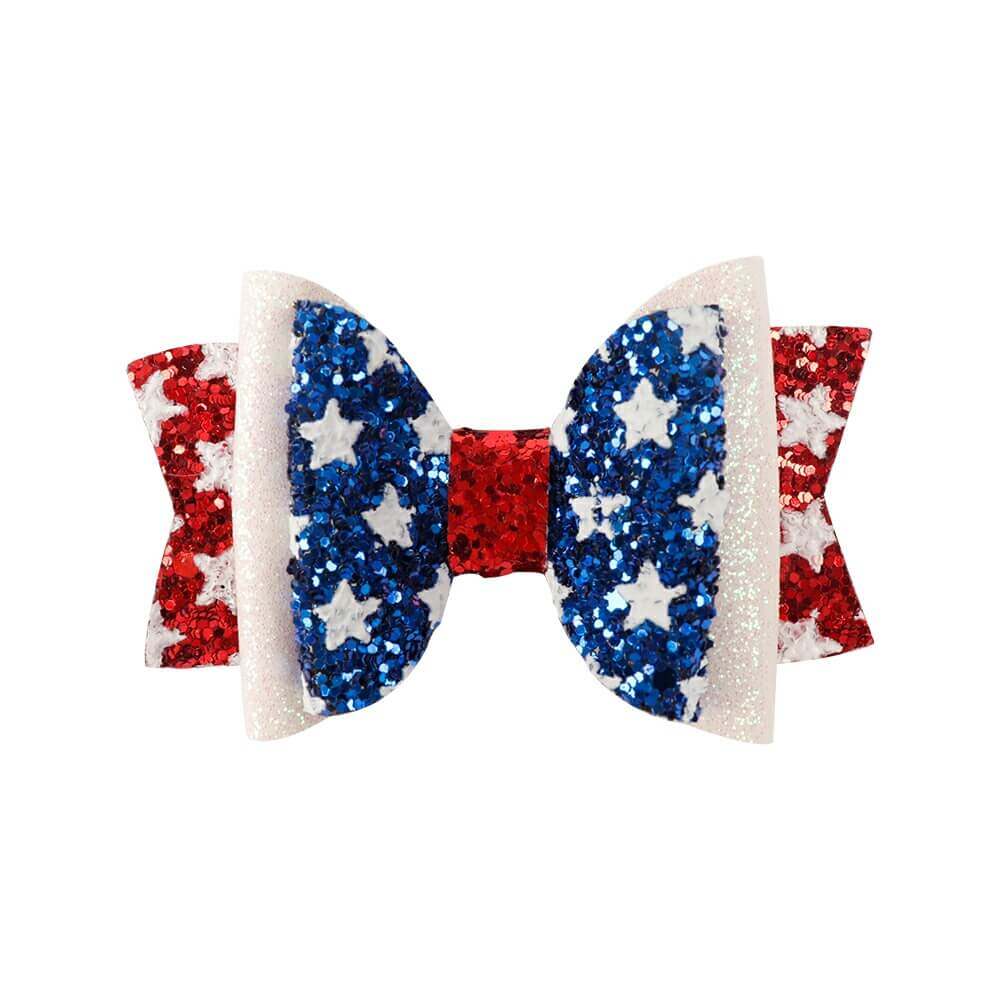 4th of July Glitter Hair Clips