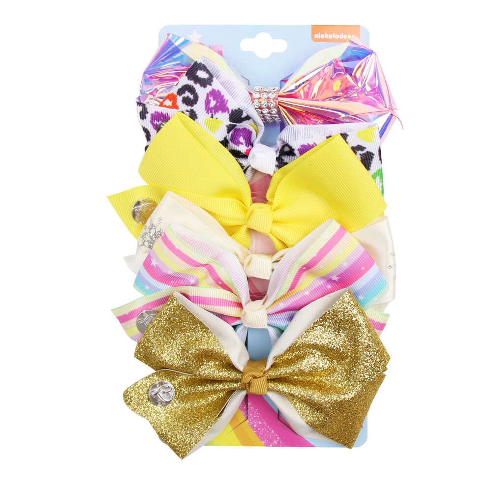 Printed Glitter Waterproof Mini Jojo Bows Set