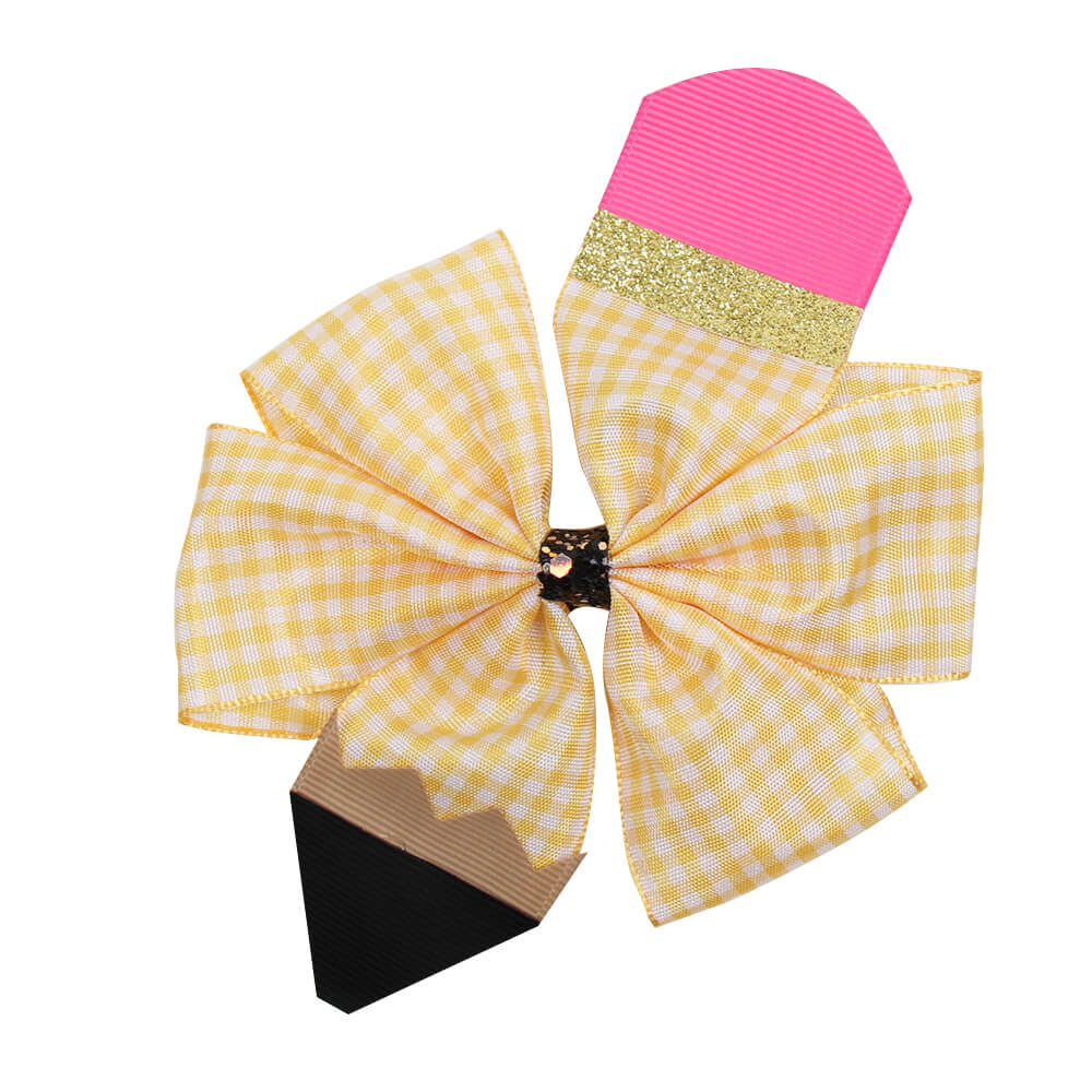 Girls BACK TO SCHOOL Pencil Hair Bows