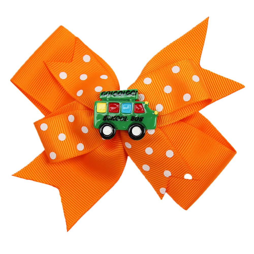 BACK TO SCHOOL Resin Cars Dot Ribbon Hair Clips