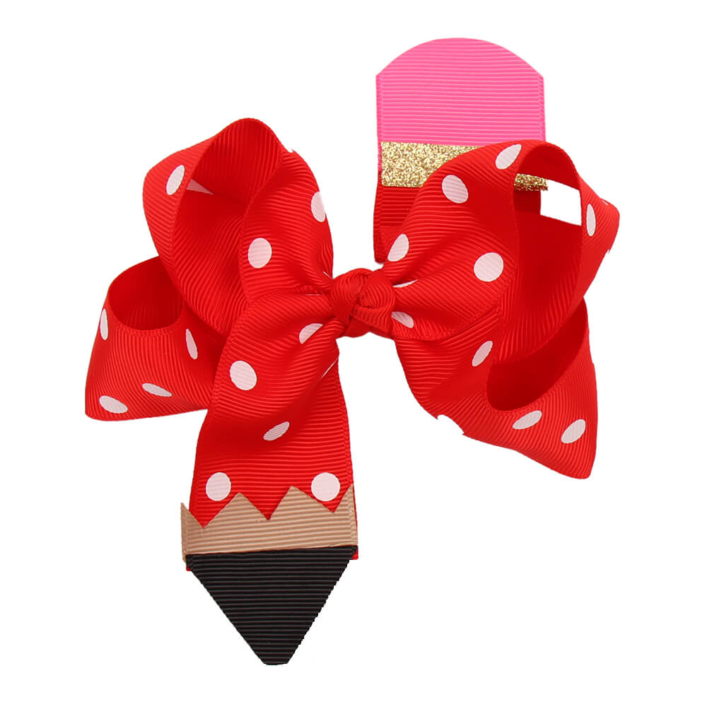 BACK TO SCHOOL Pencil Dot Grosgrain Ribbon Hair Bows