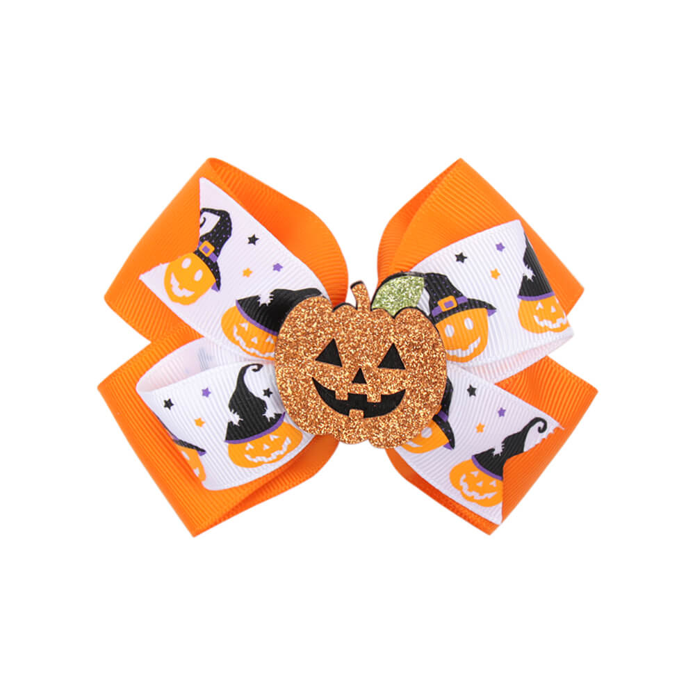 Halloween Hair Bow with Glitter Pumpkin