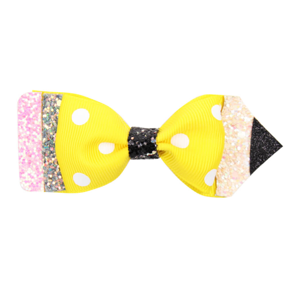 Back to School Glitter Pencil Hair Clips
