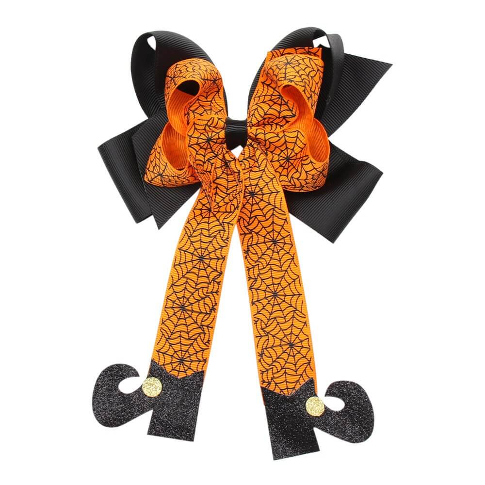 Funny Halloween Hair Bows with Glitter Boots