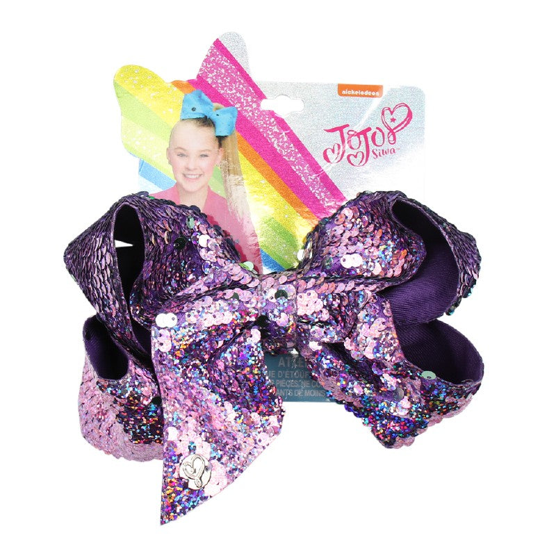 Large Reversible Sequin Jojo Hair Bow - Purple