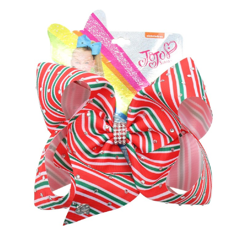Christmas Stripe Rhinestone Jojo Hair Bows