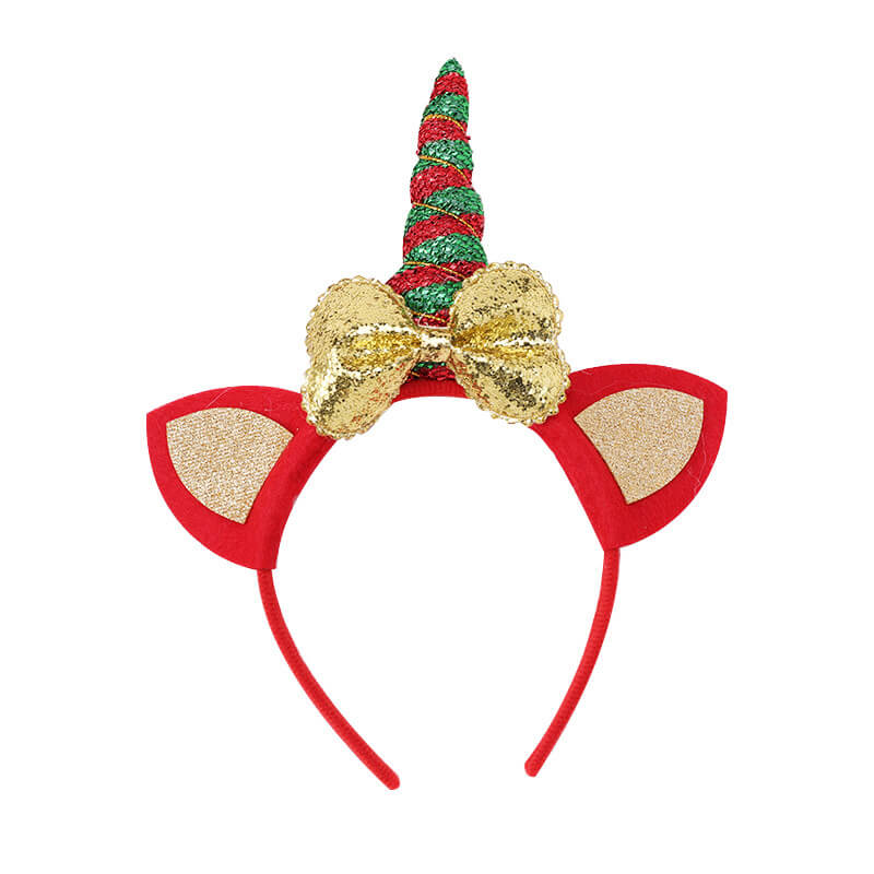 Christmas Unicorn Headband with Glitter Bows