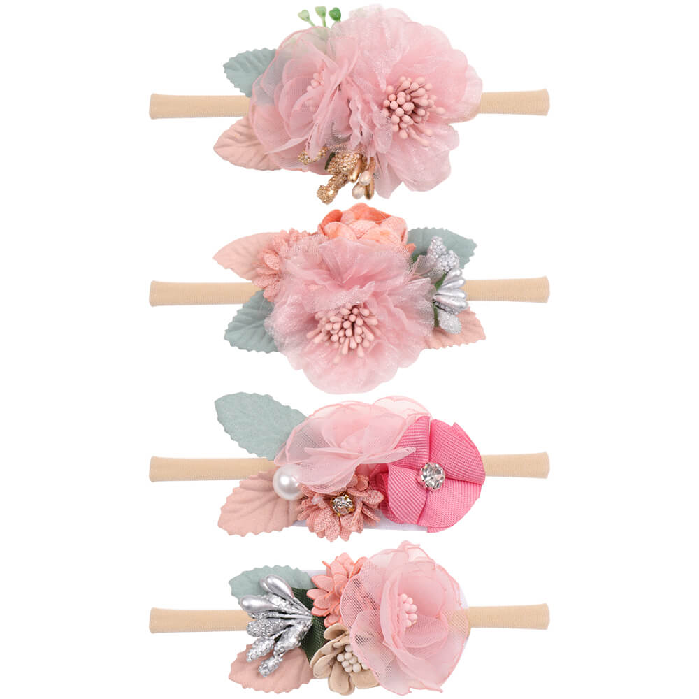 Nylon Flower Baby Headbands