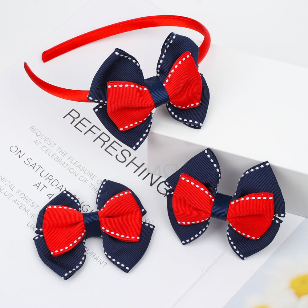 Back to School Hair Bow and headband Set