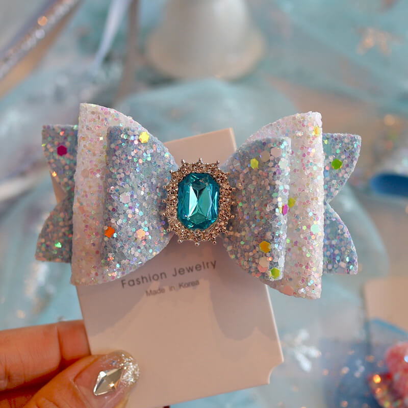 Princess Hair Bows with Crystal Blue Diamond