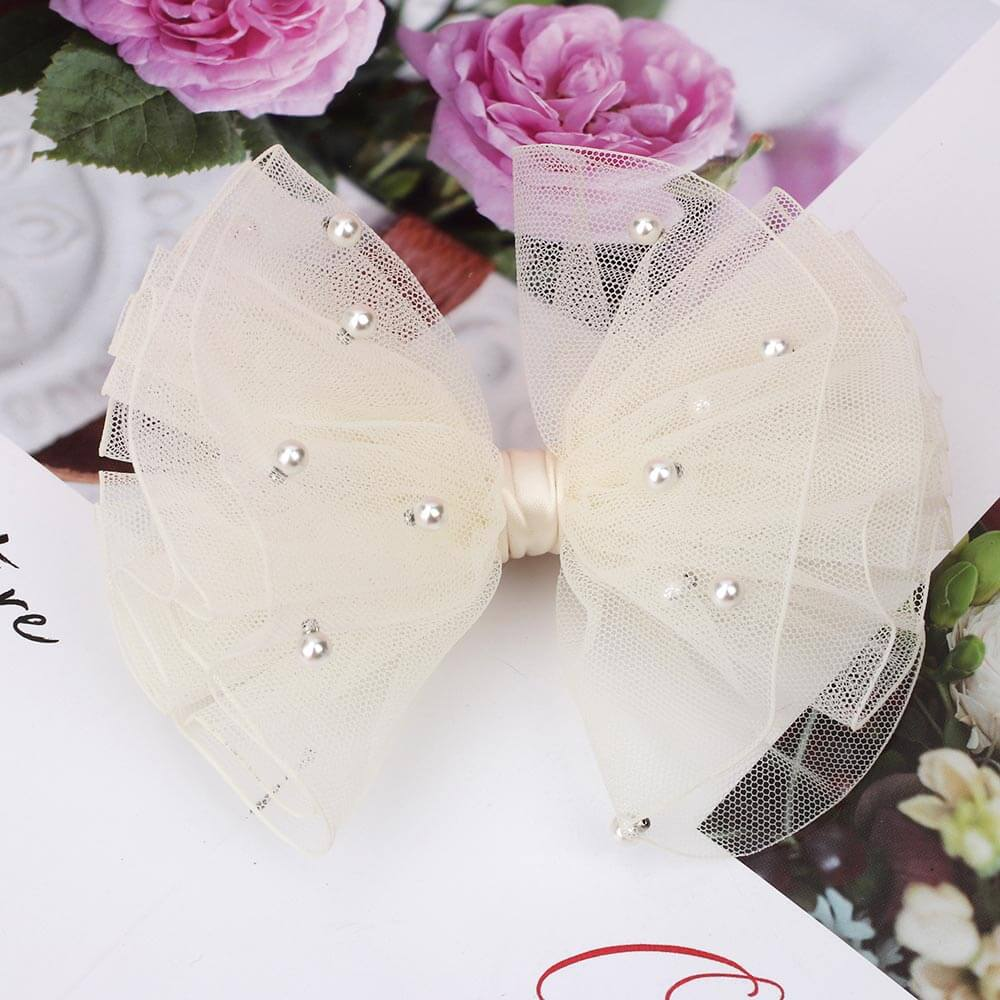 5 inches Pearl Tulle Hair Bows
