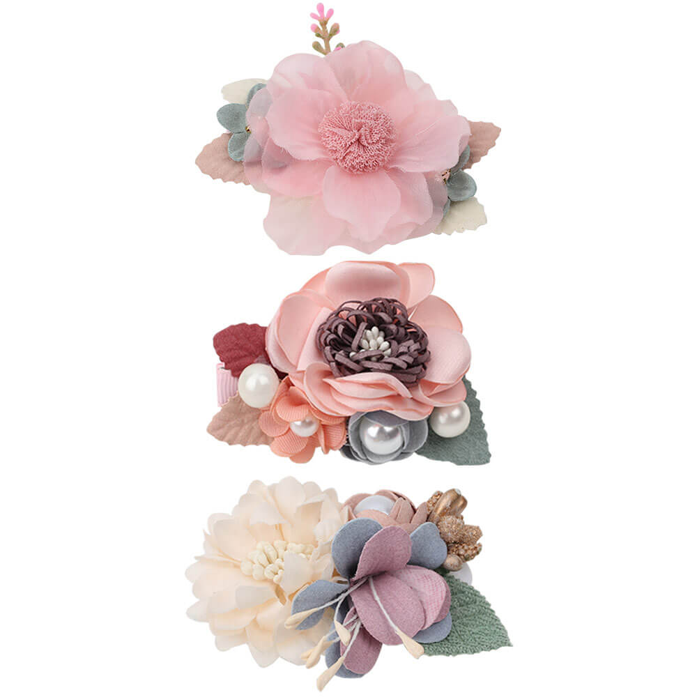 3pcs/set Cute Flower Hair Clips