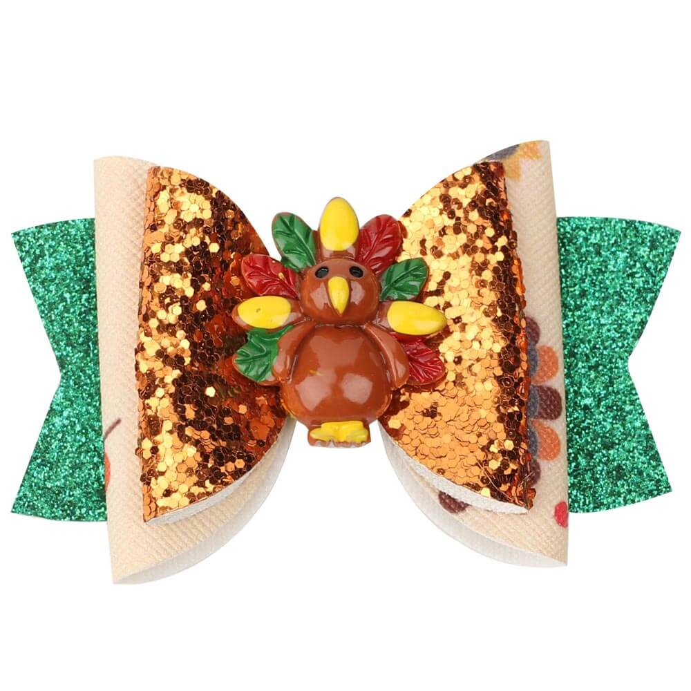 Thanksgiving Glitter Hair Clips