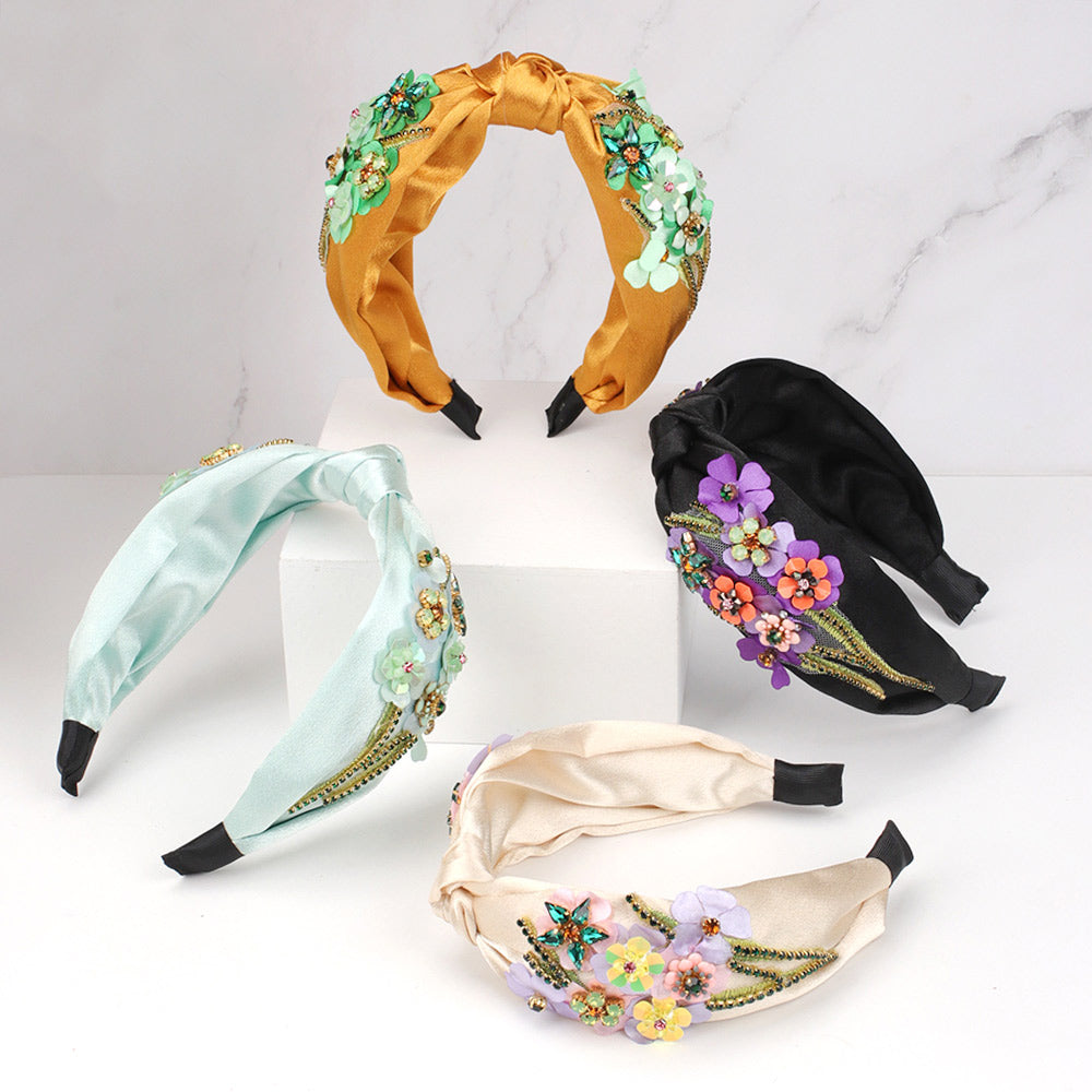 Embroidered Flower Knotted Headband