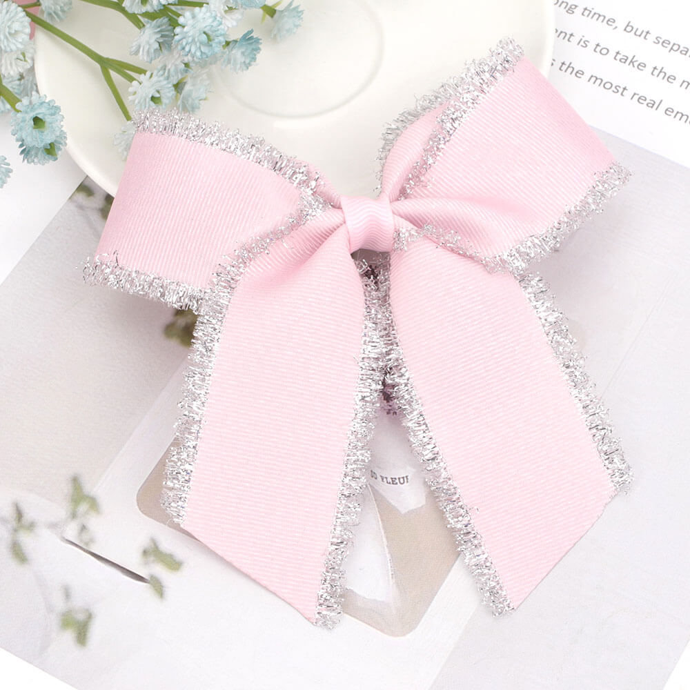 Pretty Pink Cheer Bow Clips