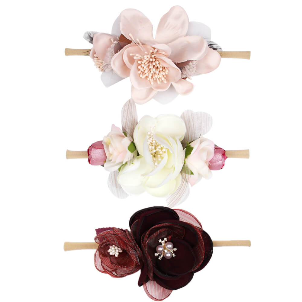 Baby Floral Pearl Nylon Headbands