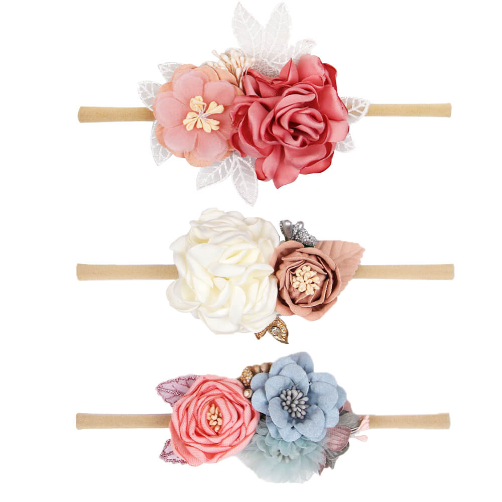 Floral Nylon Elastic Baby Headbands