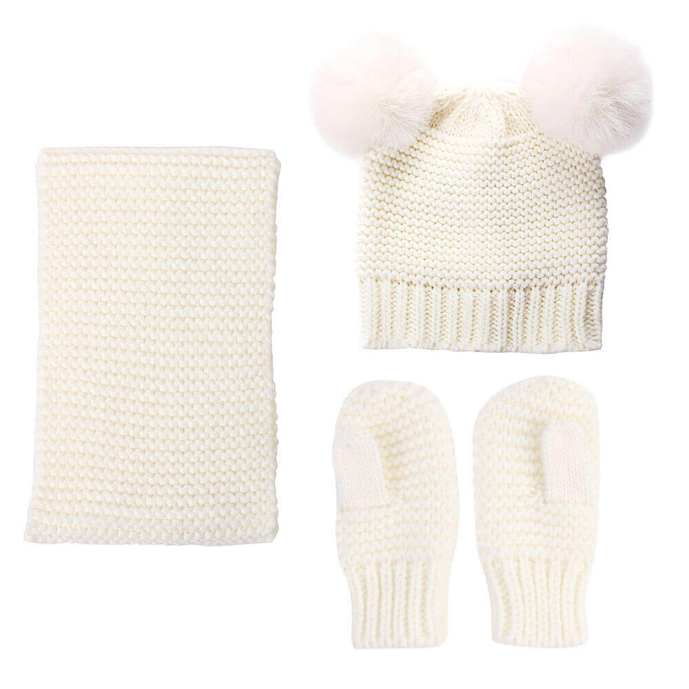 Woolen Warm Baby Hat Scarf and Gloves Set