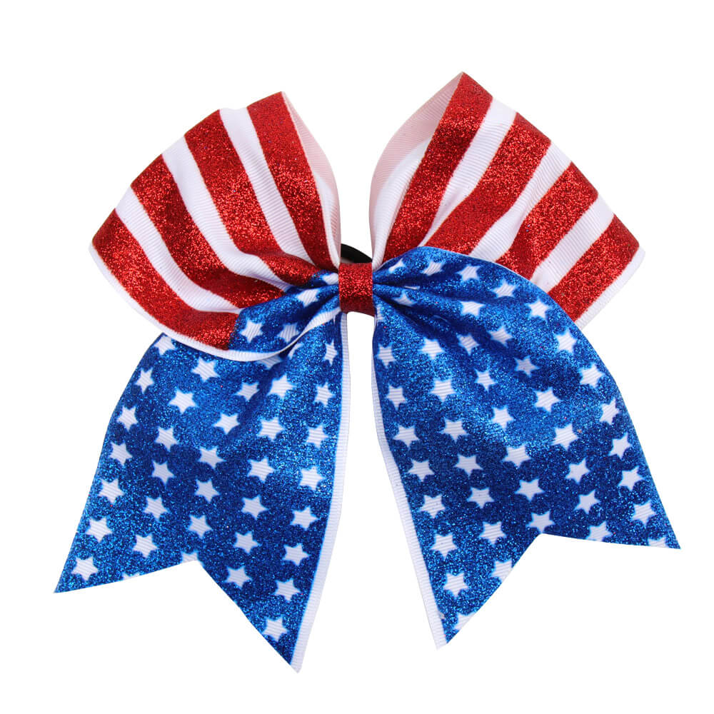 Glitter American Flag Cheer Bows | 4th Of July Cheer Bows