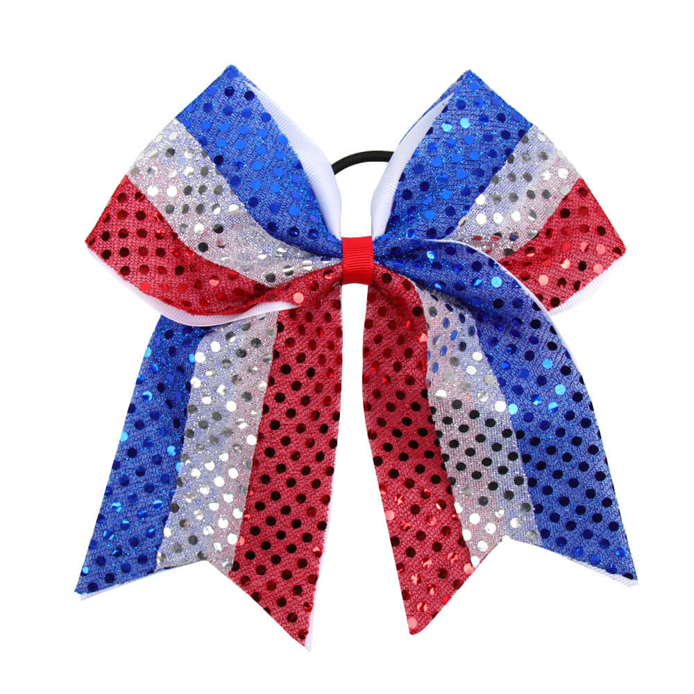 Large 4th Of July Cheer Bows With Bling Sequin